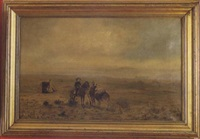 frontier scene depicting a cavalry officer and a trapper by horne