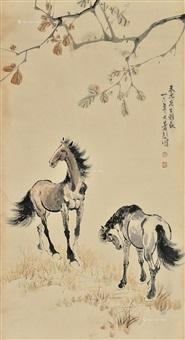 两匹马 by xu beihong