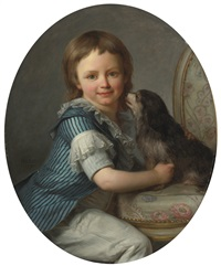 portrait of a young boy, possibly henri delacroix, and his spaniel by antoine vestier
