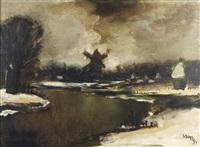 hiver au bord de la lys by albert saverys