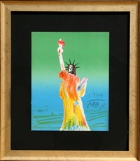 statue of liberty (green/blue) by peter max