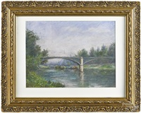 river landscape with bridge by willard leroy metcalf