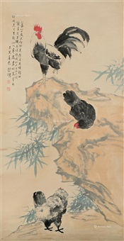 雄鸡报喜 by xu beihong