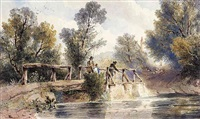 figures fishing for trout from a bridge by joseph murray ince