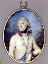 a young austrian officer with his left elbow leaning against a tree, in white coat with purple collar and cuffs, light blue waistcoat, frilled cravat and black stock, powdered hair by johann baptist anker