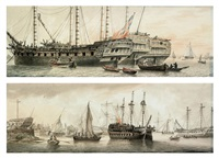 the honourable east india company's ships devonshire, woodford and lord duncan lying on the thames off blackwall (+ 2 others; 3 works) by samuel atkins