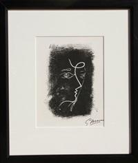 profil de femme from souvenirs de portraits d'artistes. jacques pržvert: le coeur ˆ l'ouvrage (m.25) by georges braque