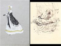 studio di figura femminile (+ studio di figure; 2 works) by gianni vagnetti