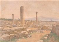 blick über die ausgrabungen von salamis auf zypern by rudolf weber