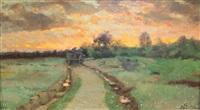 le chemin après la pluie, soleil couchant by antoine chintreuil