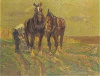 pferdegespann auf der weide by richard herdtle