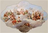 die olympischen götter auf dem parnass, entwurf für ein deckengemälde, gli dei olimpici sul parnasso, bozzetto per un dipinto di sofitto by tito agujari