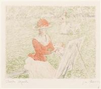 femme au chevalet (from l'album de 20 lithographies d'apres les tableaux de claude monet) by claude monet