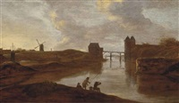a river landscape with anglers on the shore, a bridge beyond by frans de hulst