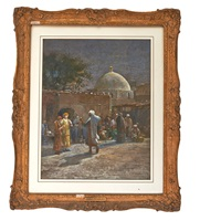 orientalist of figures at a mosque by louis comfort tiffany