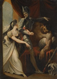 hüon rescuing angela from the giant angulaffer (from wieland's oberon) by henry fuseli