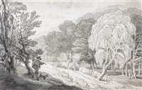driving cows through a wooded valley by john white abbott