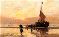 bomschuit op strand bij zonsondergang by gerhard arij ludwig morgenstjerne munthe