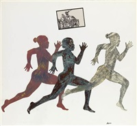 three running figures by nancy spero