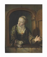 a young girl at a window by jan victors