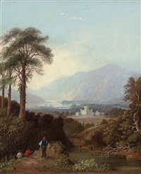 fishermen by the river tay, perthshire, with taymouth castle beyond by charlotte nasmyth