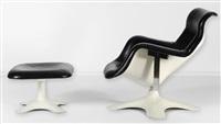 fauteuil modèle karuselli et son repose pied (set of 2) by yrjö kukkapuro