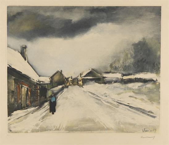 village sous la neige by maurice de vlaminck