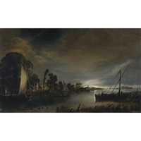 a moonlit river landscape by anthonie van borssom