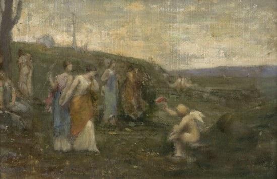 allégorie: cupidon et les muses by jean-ernest aubert