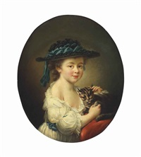 a girl with a cat by françois hubert drouais