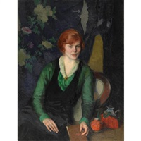 portrait of a woman (redhead) by ivan g. olinsky