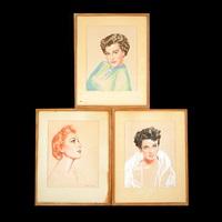 lot of three pastel portraits of ava gardner, deborah kerr and jane russell by henri sabin