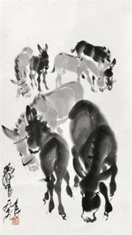 驴 镜片 水墨纸本 by huang zhou