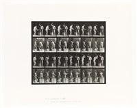 nude men swinging hammers, plate 377 from animal locomotion by eadweard muybridge