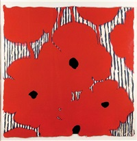 eight red poppies with flocked center by donald sultan