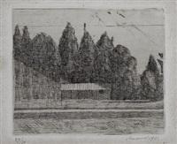 campo di tennis ai giardini margherita a bologna (lastra piccola) by giorgio morandi