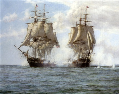 the action between quothms shannonquot and the quotuss chesapeakequot 1st june 1813 by montague dawson