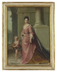 portrait of marie adélaïde, princesse de savoie, duchesse de bourgogne, subsequently dauphine de france (1685-1712) and mother of the future king... by jean-baptiste santerre