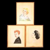 lot of three pastel portraits of elizabeth taylor, marilyn monroe, and gloria de haven by henri sabin
