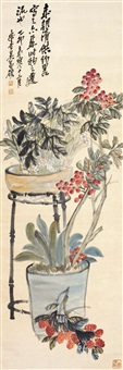 花卉 立轴 绢本 by wu changshuo
