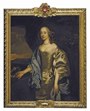 portrait of lady mary okenealy in an oyster satin dress with a blue mantle holding a garland of flowers in a landscape by john hayls