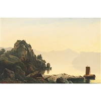 misty lake scene with boaters, north italy by johann rudolf rapp