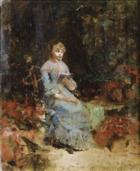 jeune fille lisant by walter gay