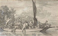 a group of figures and livestock on a ferry by adriaen van de velde
