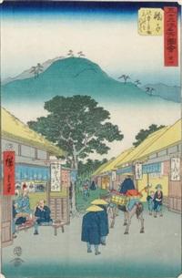oban tate-e de la série gojusan tsugi meisho zue, les 53 stations du tokaido, planche 21, mariko by ando hiroshige