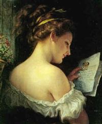 ung pige, der læser et kærestebrev: