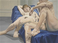 two female models, one seated, one reclining with arm overhead by philip pearlstein