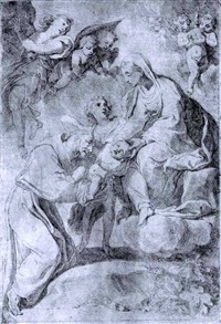 madonna and child in glory with st. francis of assisi by flaminio (dagli ancinelli) torri