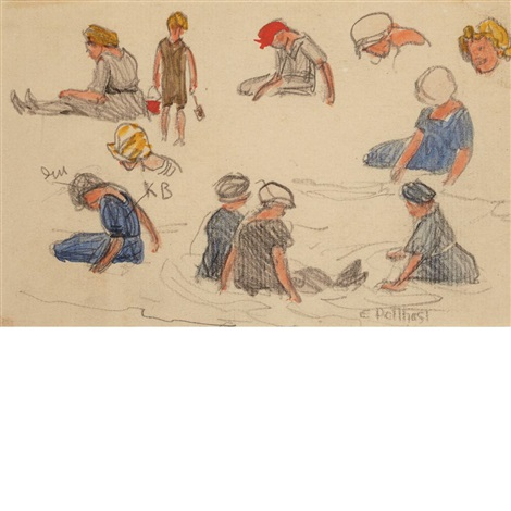 studies of beach figures by edward henry potthast