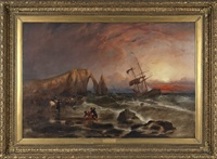 wreck on the coast of normandy by f. goodall and lancaster
